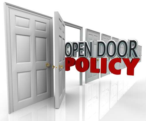a discussion on the policy of open doors Definition: open door policy represents a contemporary business policy under which every manager's door at a company is open to the workforce what does open door.
